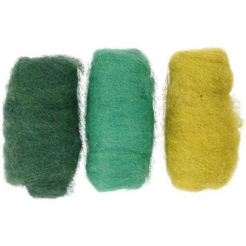 Carded Wool Green Harmony 3 x 10g